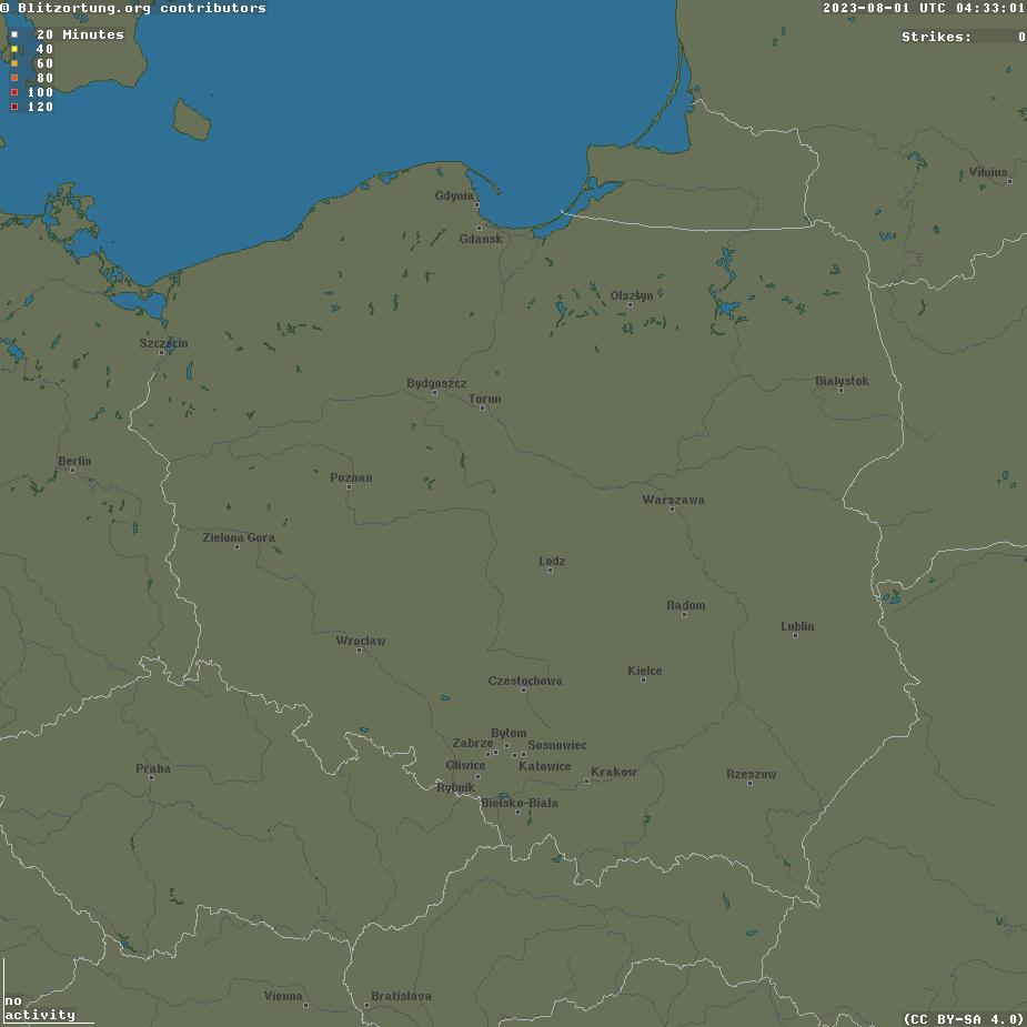 Mapa uderzenie pioruna